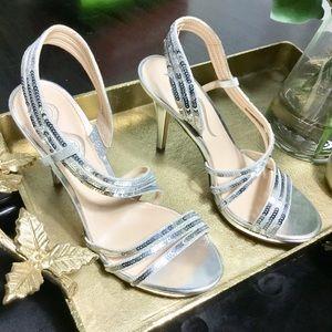 "Nina Silver ""Foil"" Look Heels"